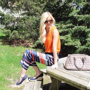 Ann Taylor Loft Colorful Stripe Pants